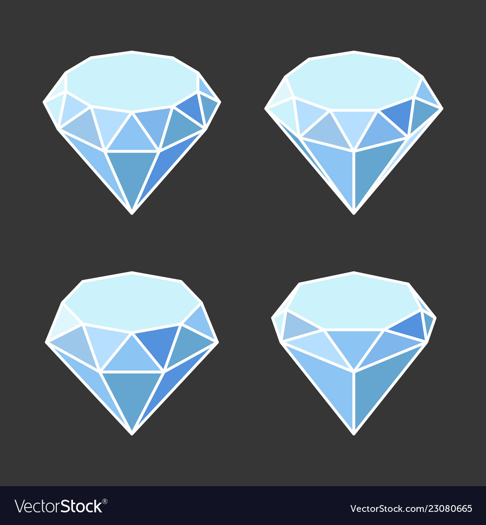 Diamond crystal icons set on dark background
