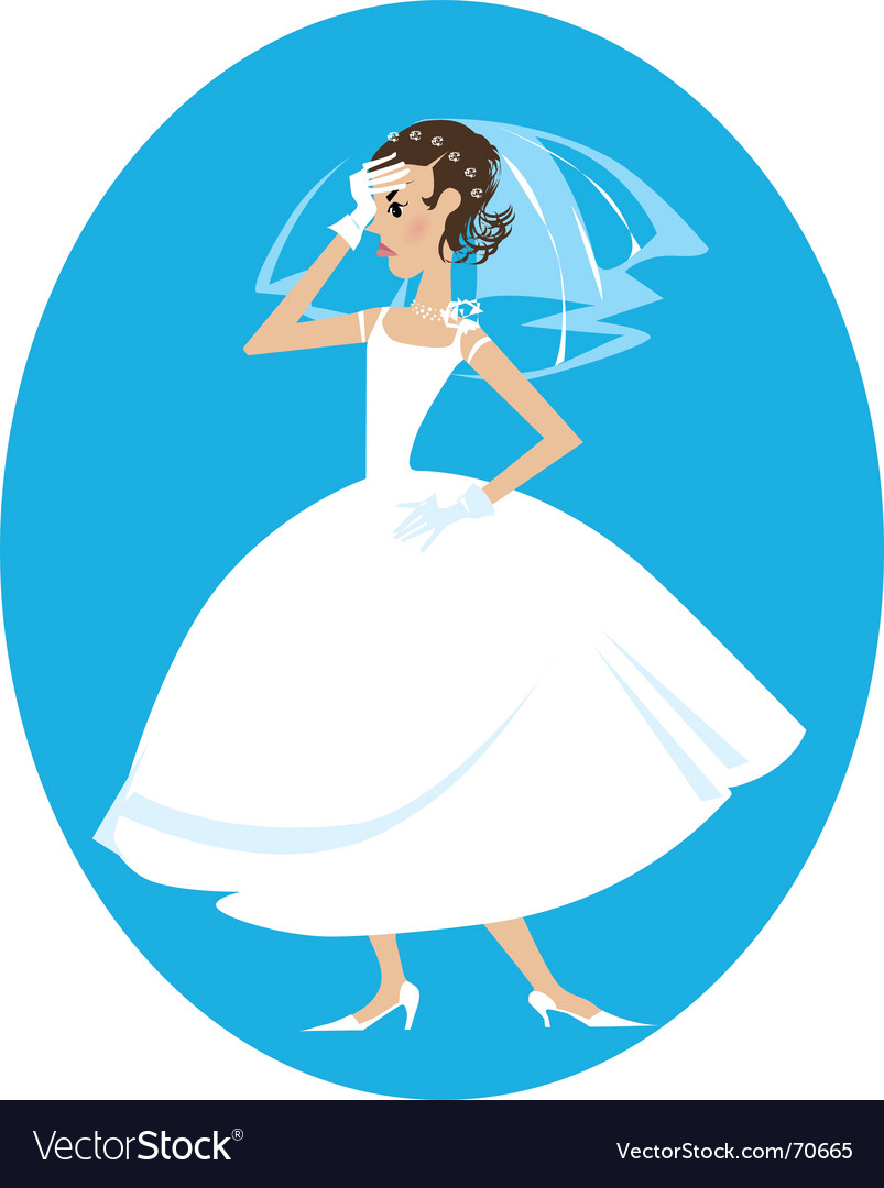 Disappointed bride vector image