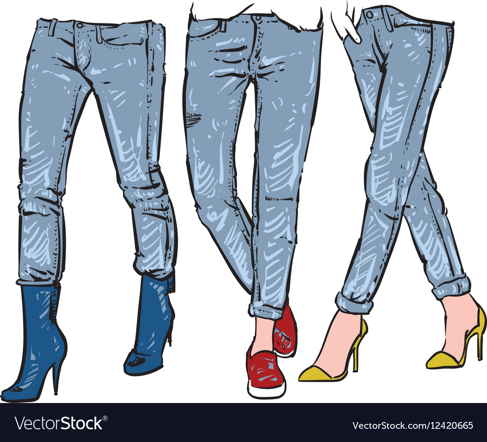Drawing womens fashionable jeans sketch