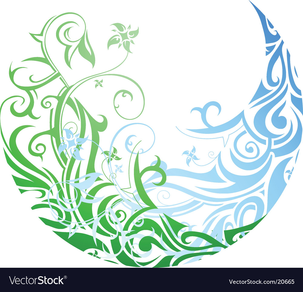 Floral circle graphic design vector image