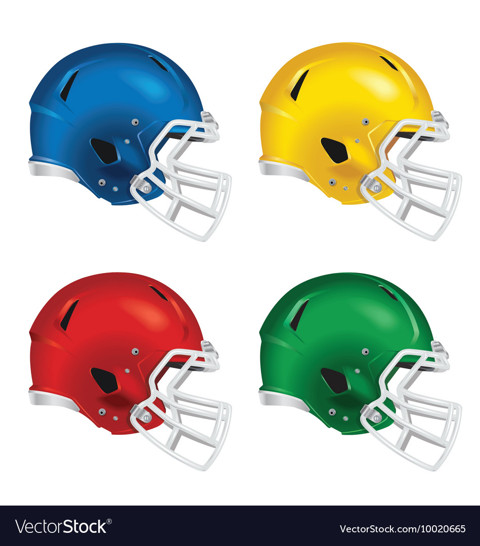 Football helmets with white facemasks vector image