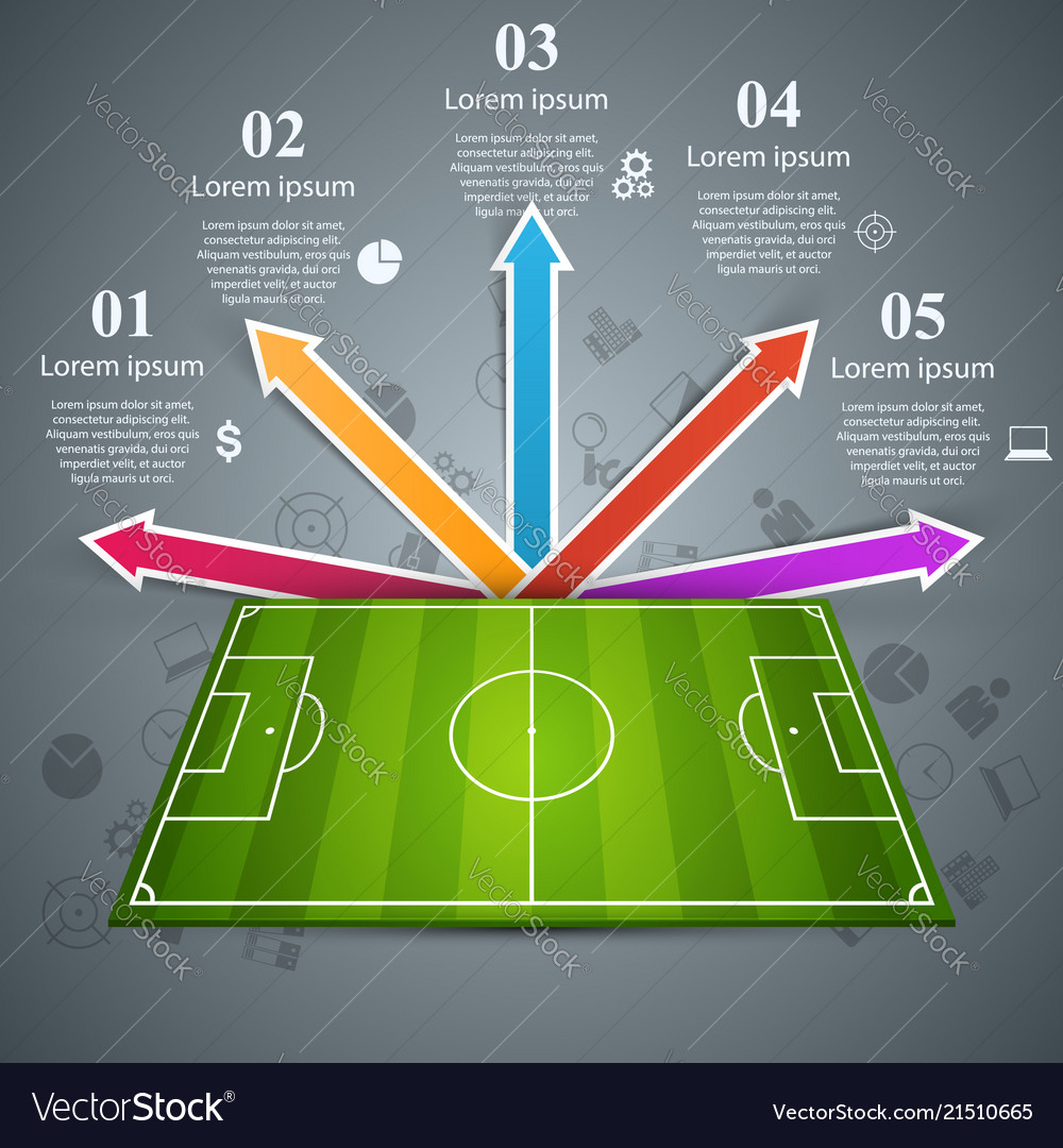 Football soccer field sport game infographic