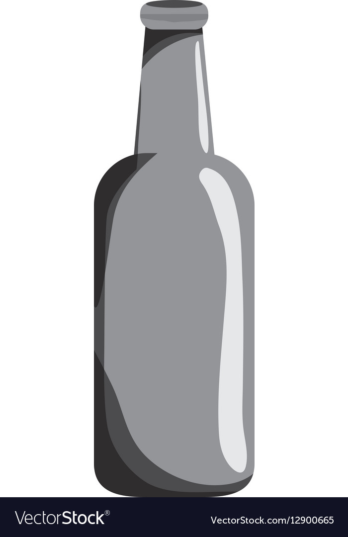Grayscale bottle of beer icon design vector image