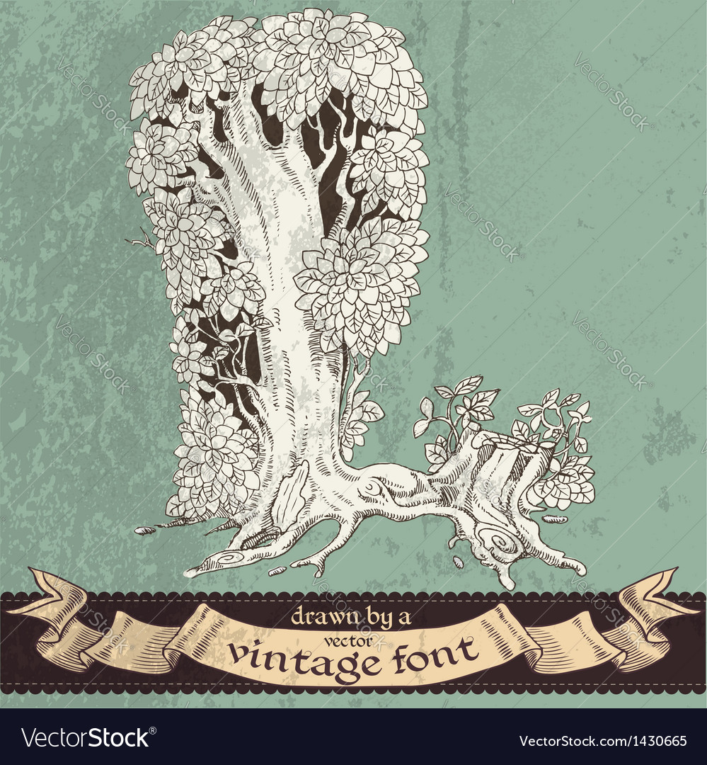 Magic grunge forest hand drawn by vintage font - L