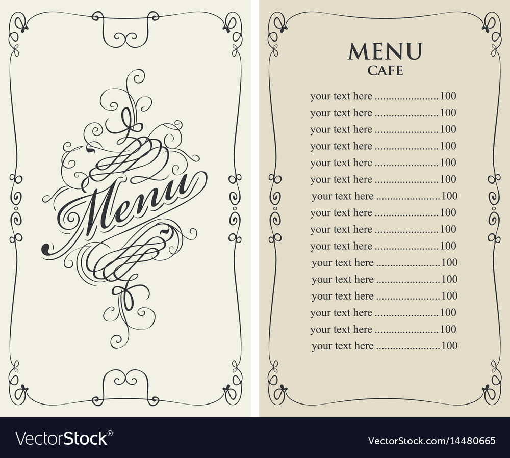 Menu for cafe with price list and curlicues frame