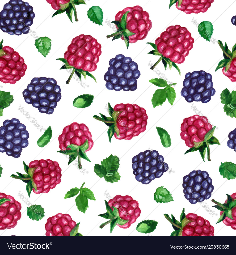 Seamless pattern with watercolor rasberries
