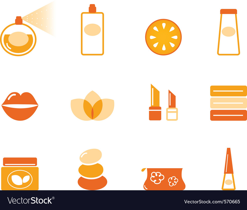Wellness spa and cosmetic icons