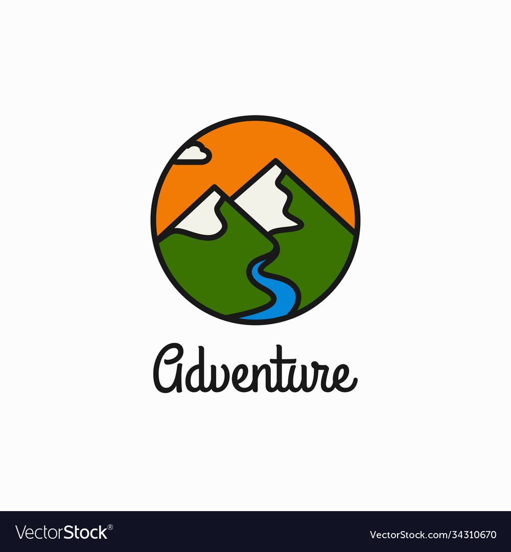 Adventure linear logo mountains and river circle