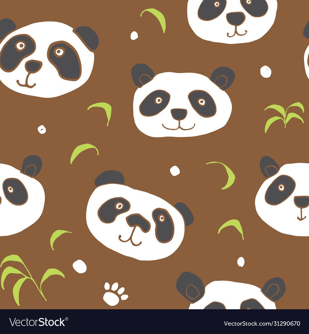Cute panda bear seamless pattern cute animals vector