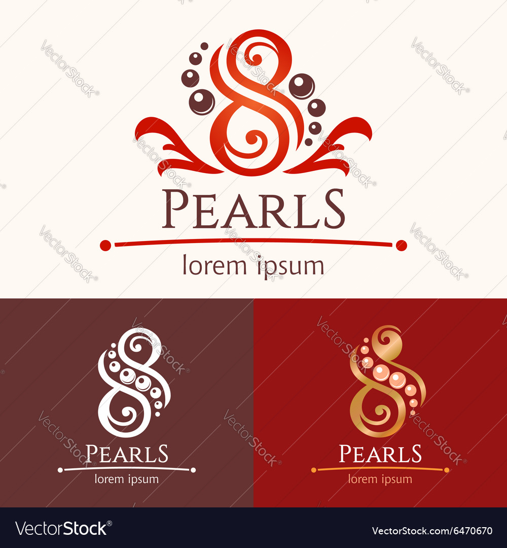 Eight pearls emblem template design set vector image