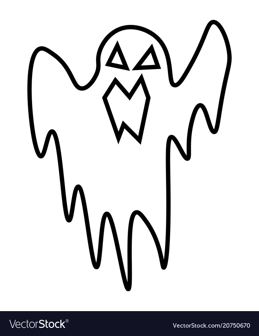 Ghost cartoon character cute lines isolated