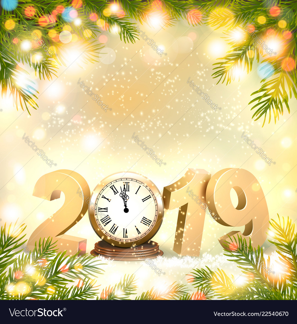 Happy new year 2019 background with presents and
