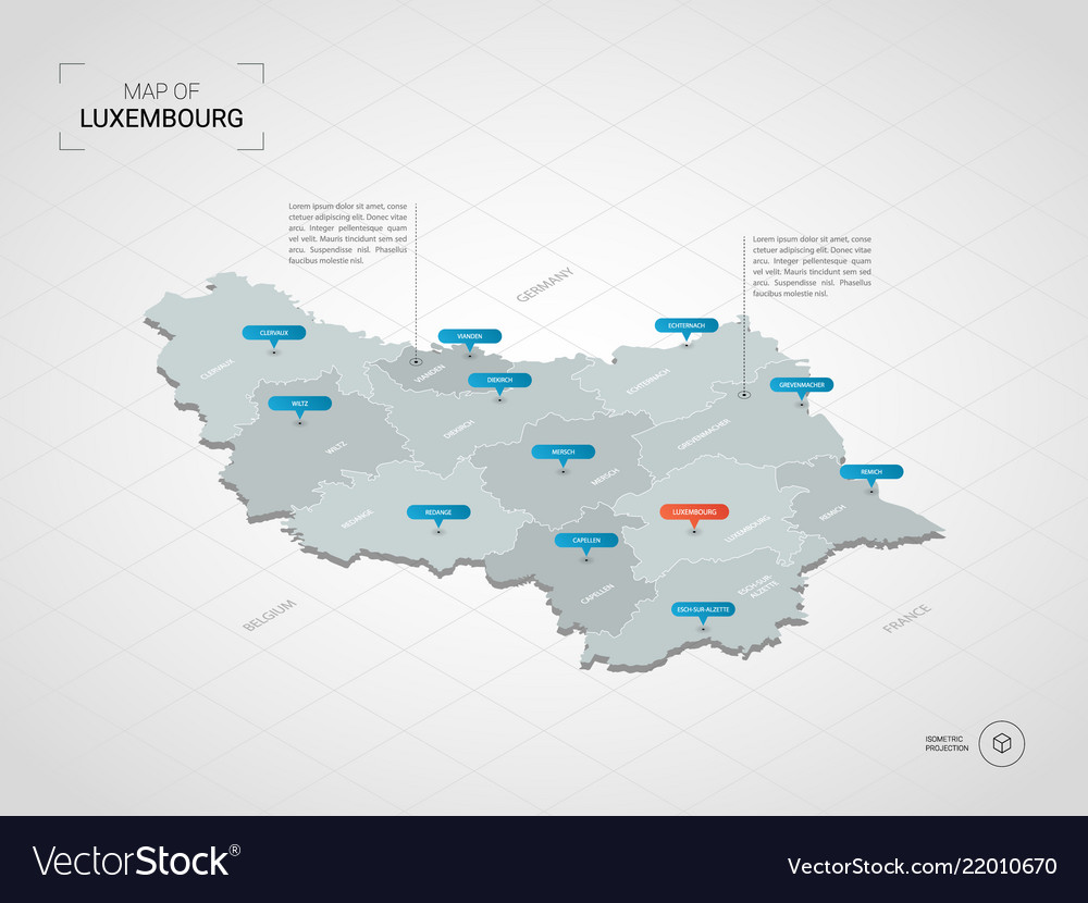 Map Of France With City Names.Isometric Luxembourg Map With City Names And