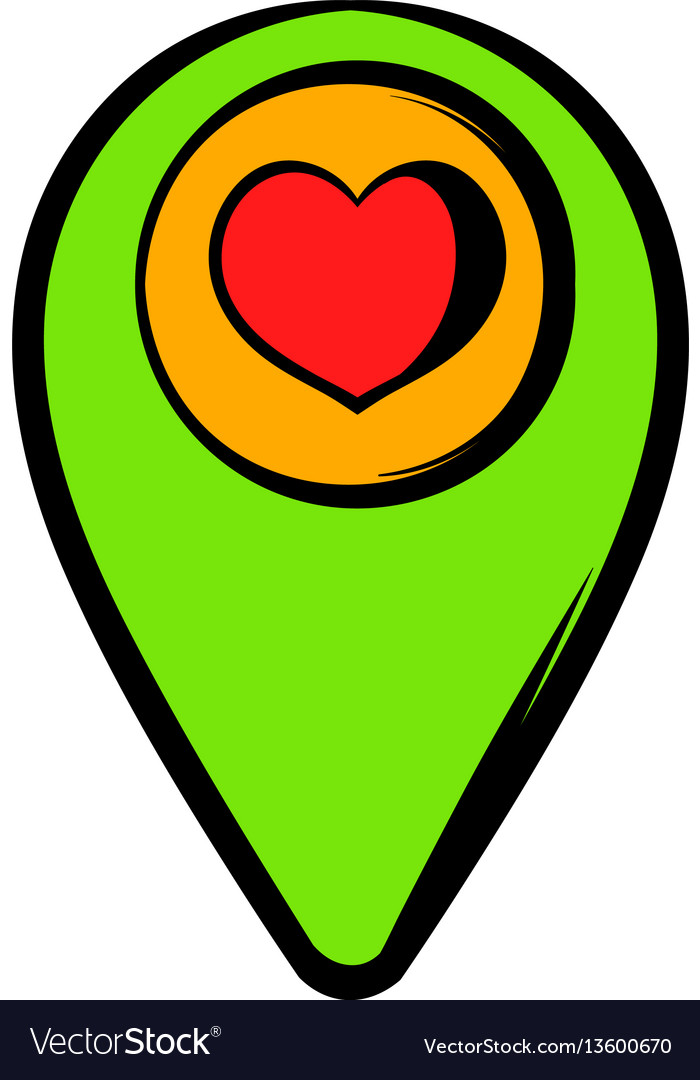 Map pointer with heart icon icon cartoon