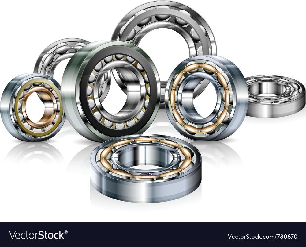 Metal roller bearings on white