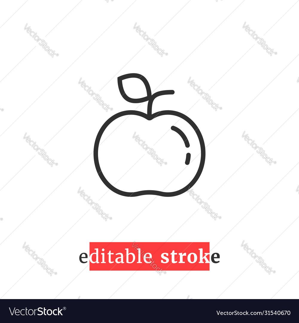 Minimal editable stroke apple icon