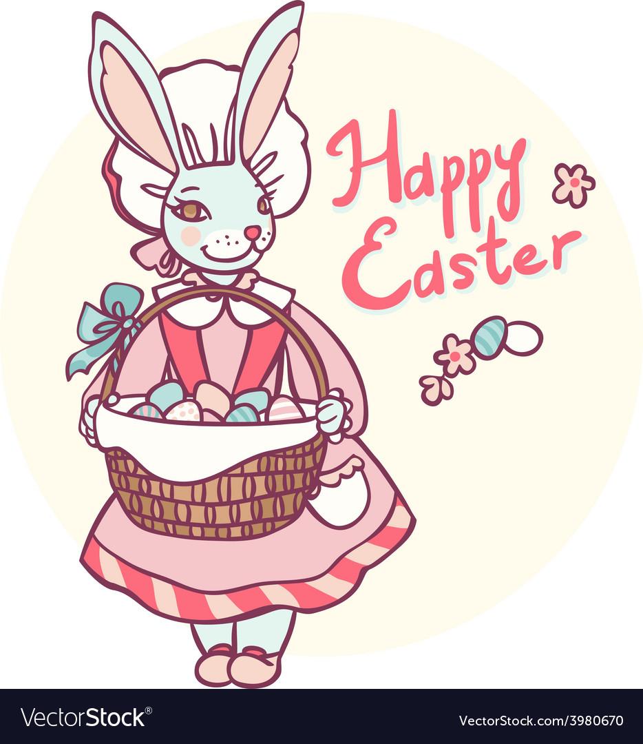 Postcard rabbit holding a basket of Easter eggs