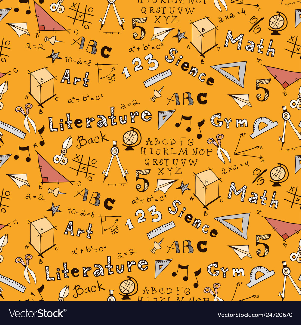 School kids seamless pattern with education