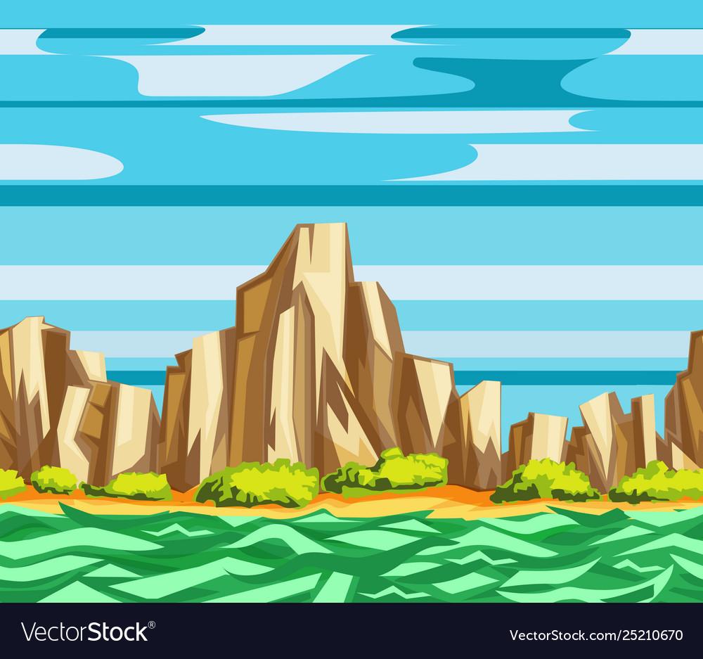 Sea cliffs seamless landscape