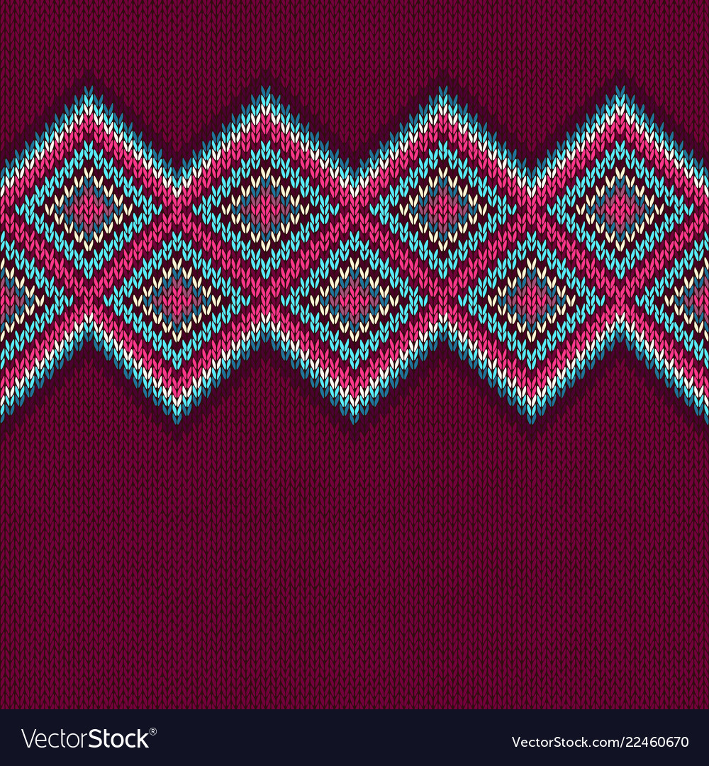 Seamless knitted pattern with rhombus