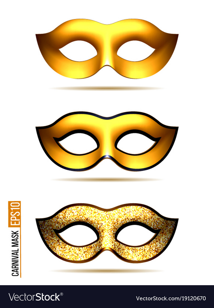 Set of golden carnival mask