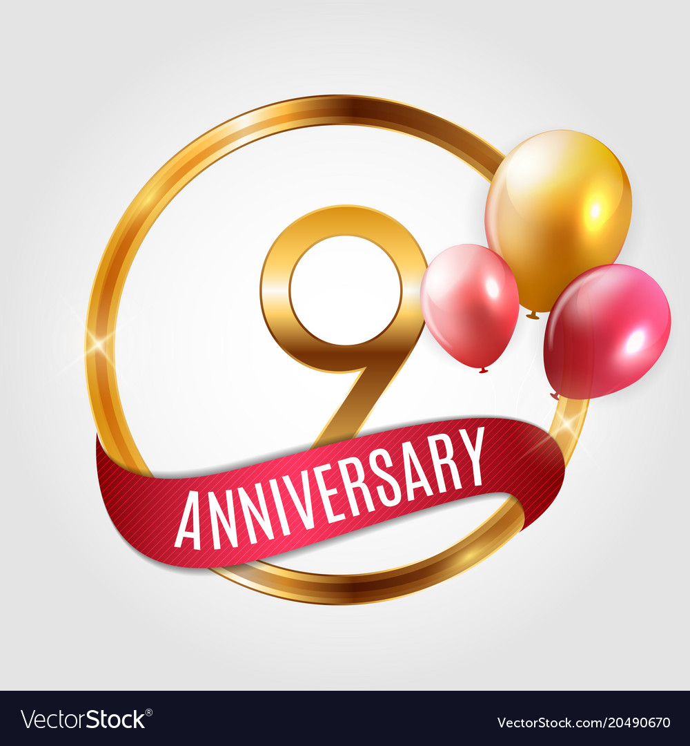 Template Gold Logo 9 Years Anniversary With Ribbon