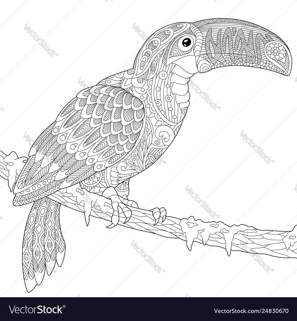 Coloring Pages. Birds. Little Cute Toucan. Stock Vector ... | 1080x1000