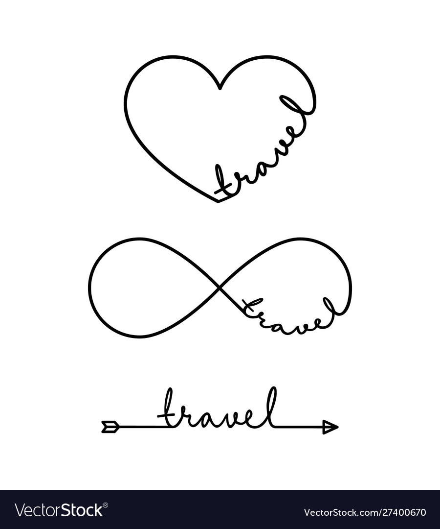 Travel - word with infinity symbol hand drawn