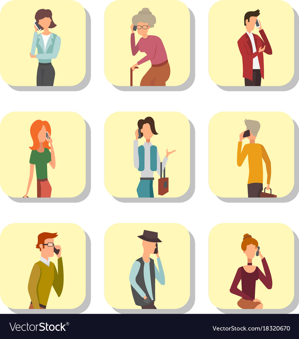 Trendy flat people with phone gadgets cards group