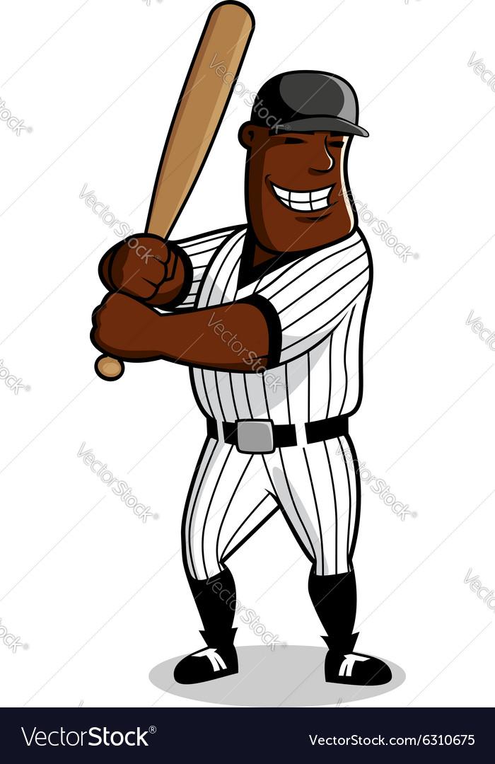 Cartoon baseball player character with bat vector image