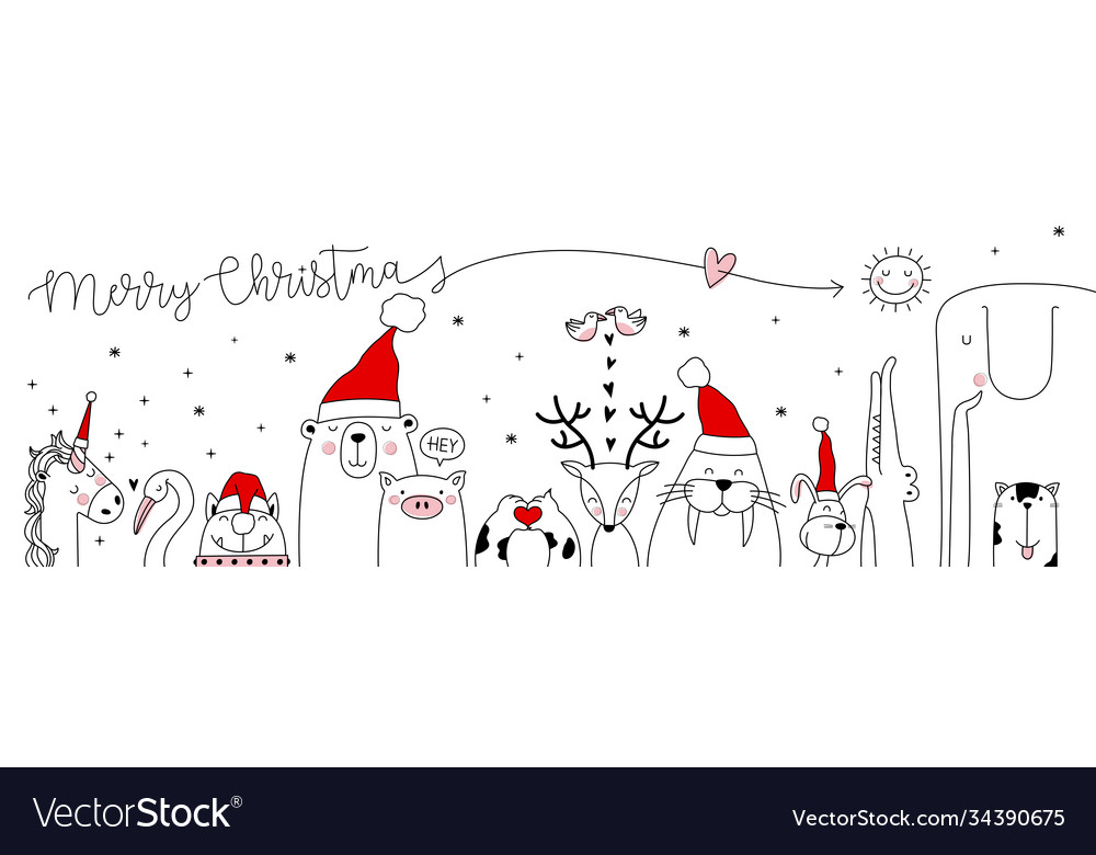 Christmas card with cute animals hand drawn