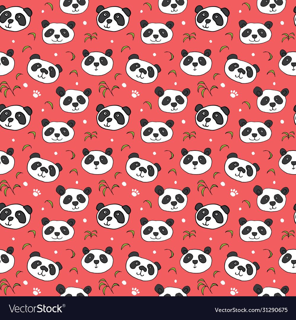 Cute panda bear seamless pattern cute animals