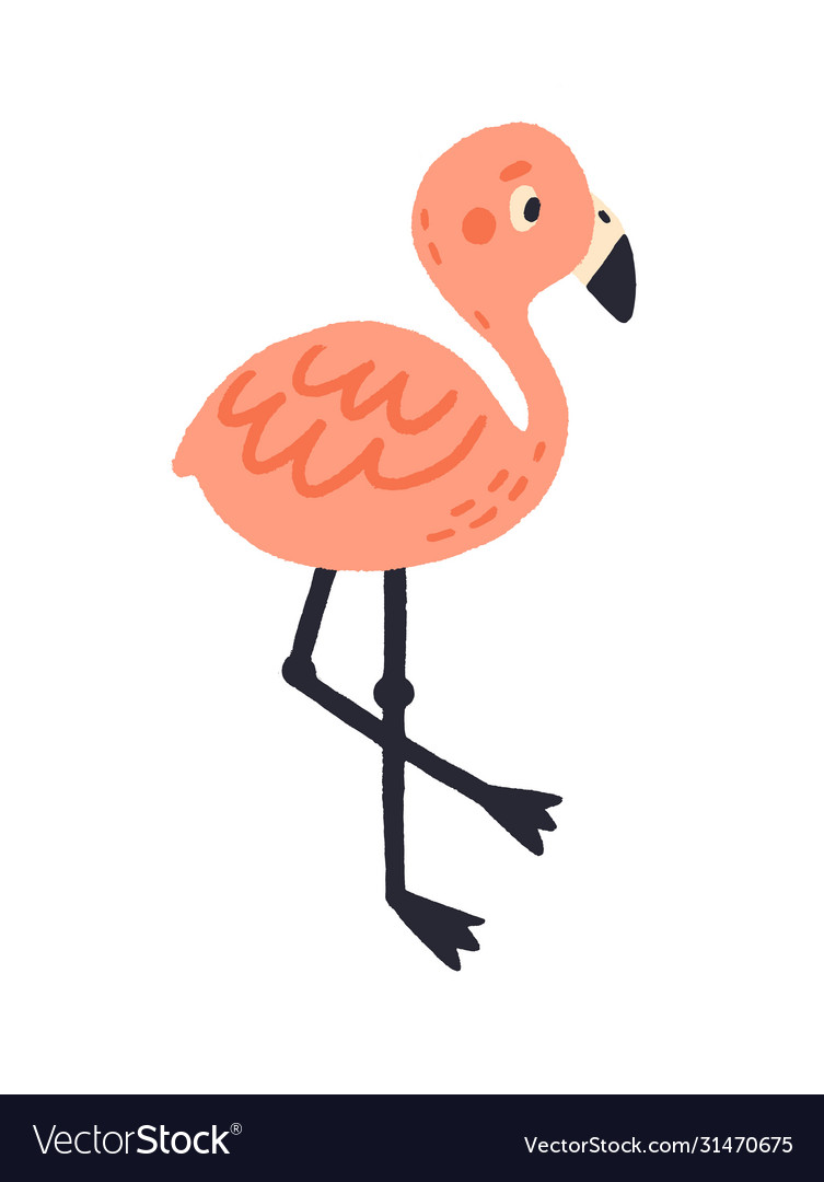 Cute pink hand drawn flamingo flat