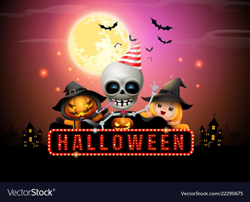 Halloween night full moon party fancy sign