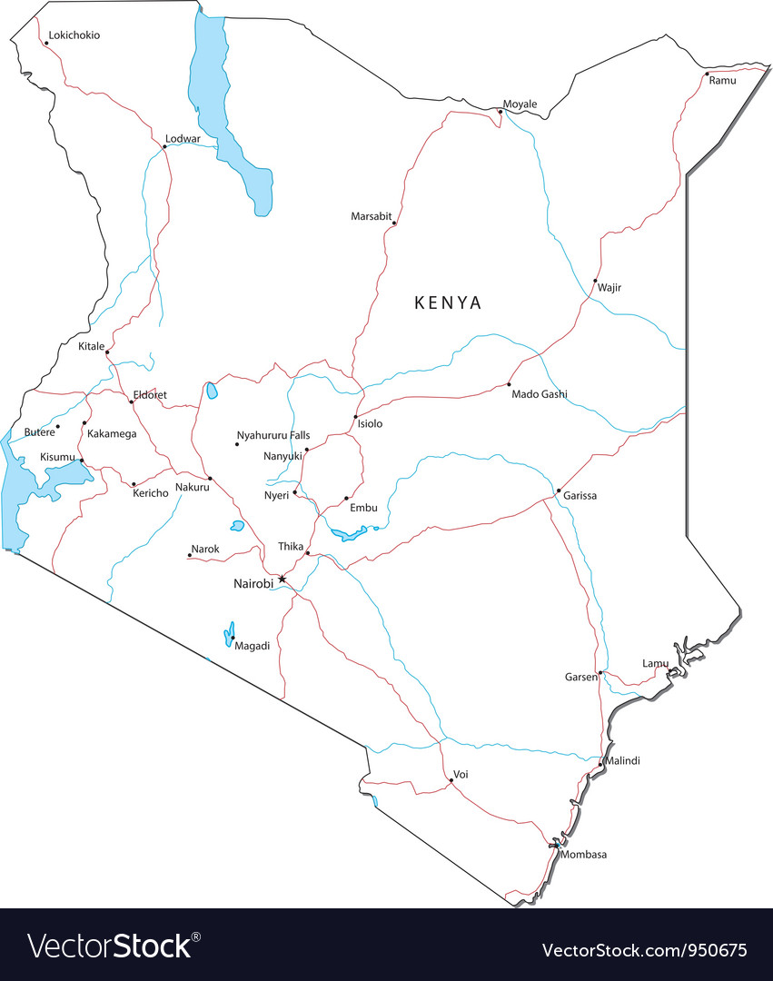 Kenya Black White Map