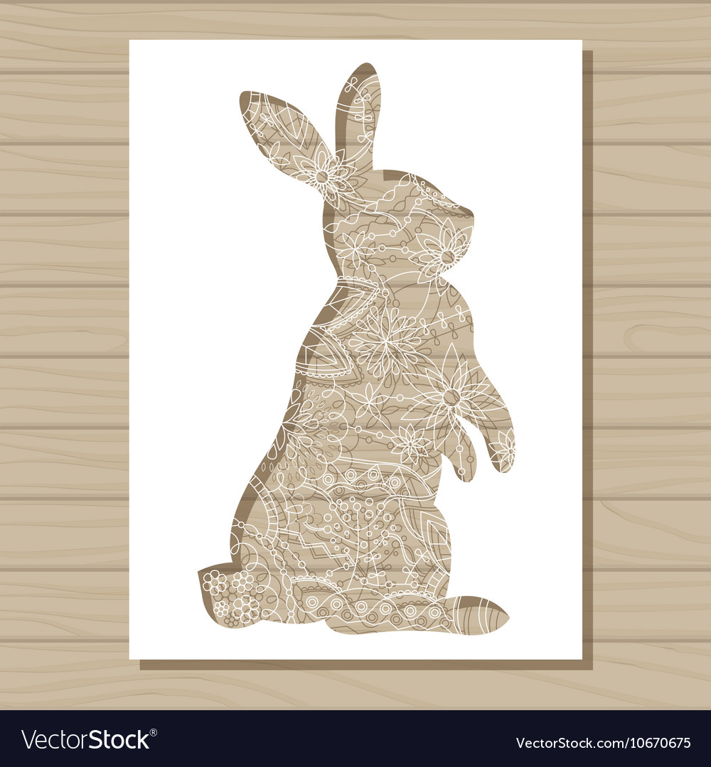 stencil template of rabbit on wooden background vector image
