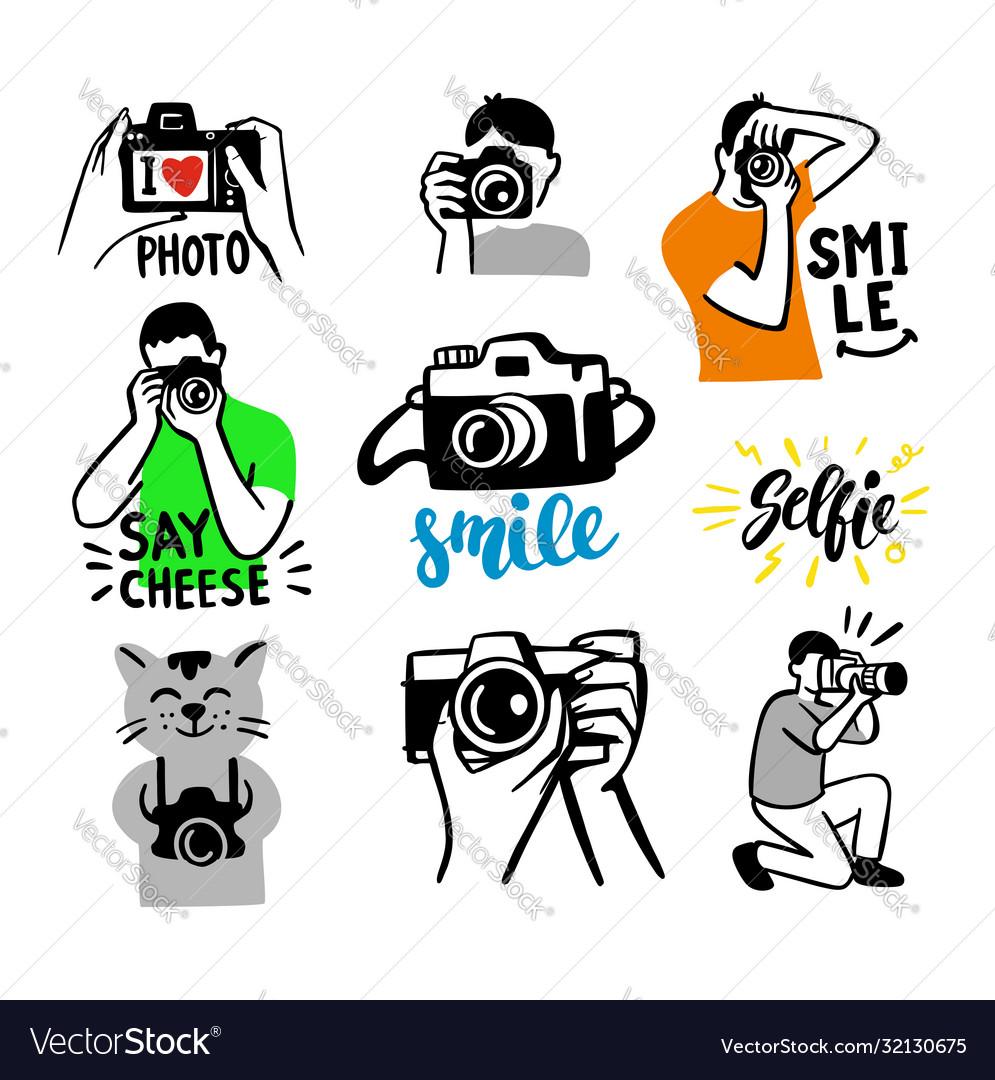 Stickers on white background theme photographer