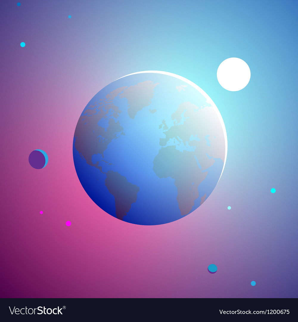 Sunrise over planet vector image