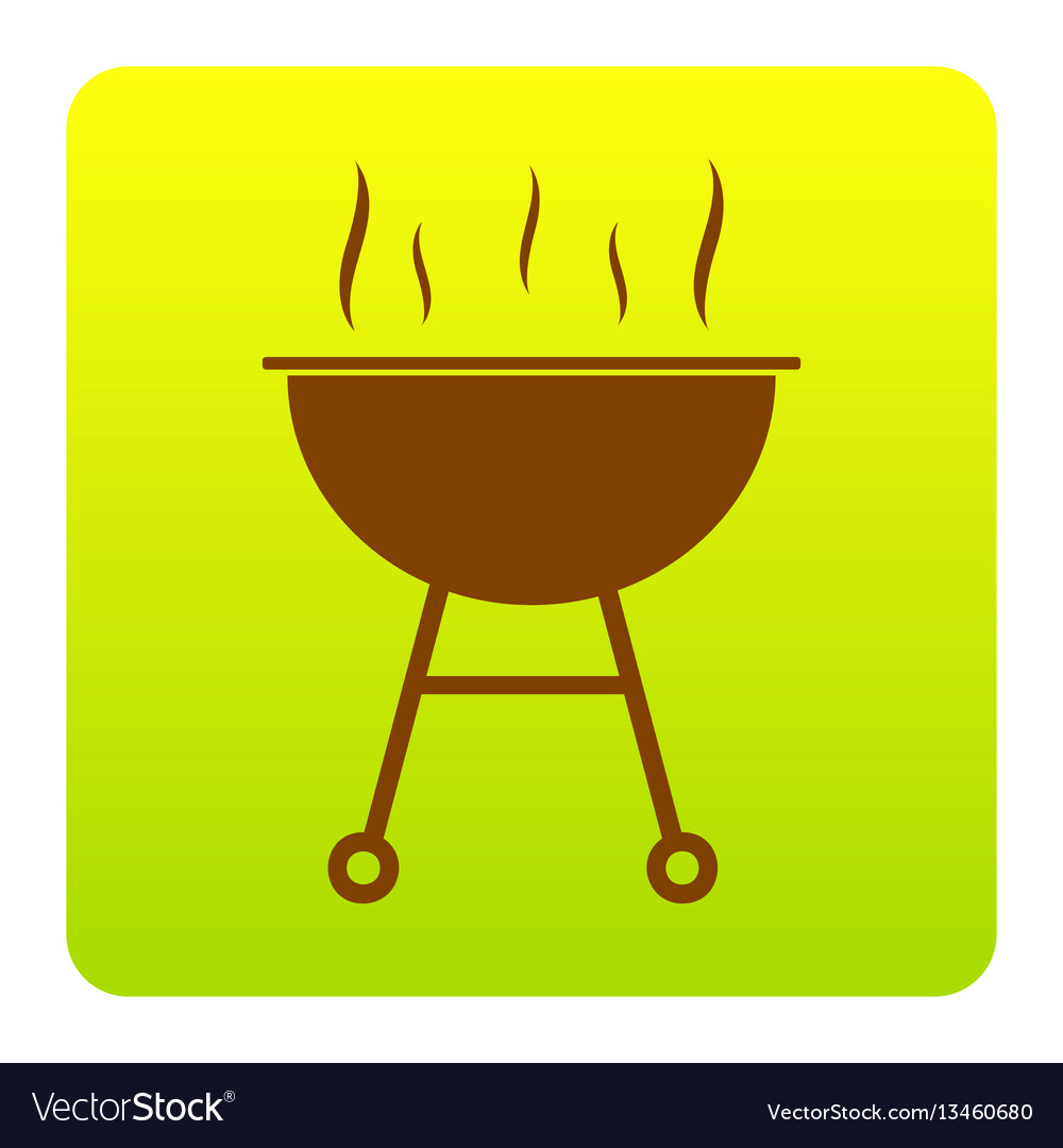 Barbecue simple sign brown icon at green vector image