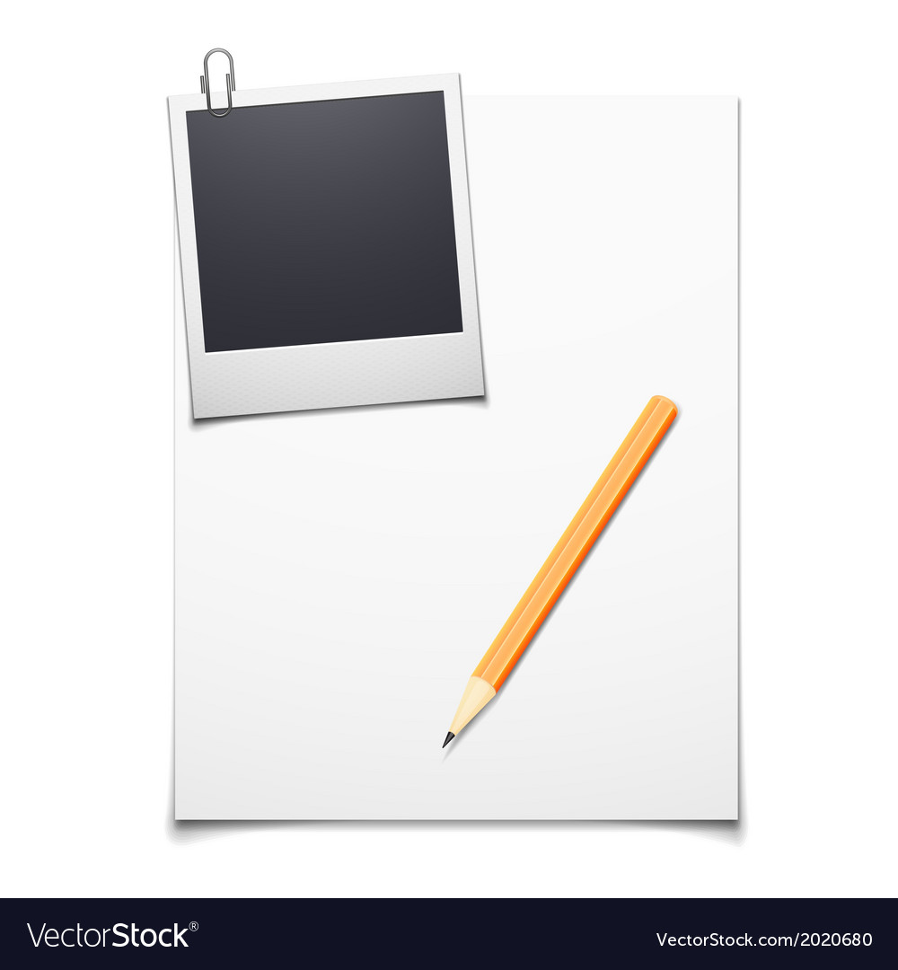 Blank paper and polaroid photo frame Royalty Free Vector