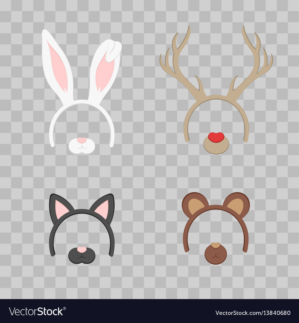 Cartoon cute headband with ears holiday set vector image