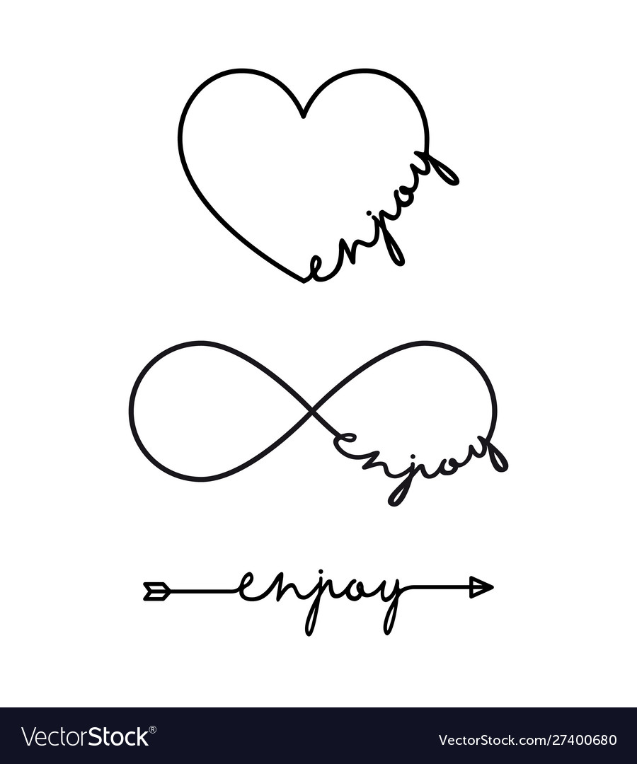 Enjoy - word with infinity symbol hand drawn