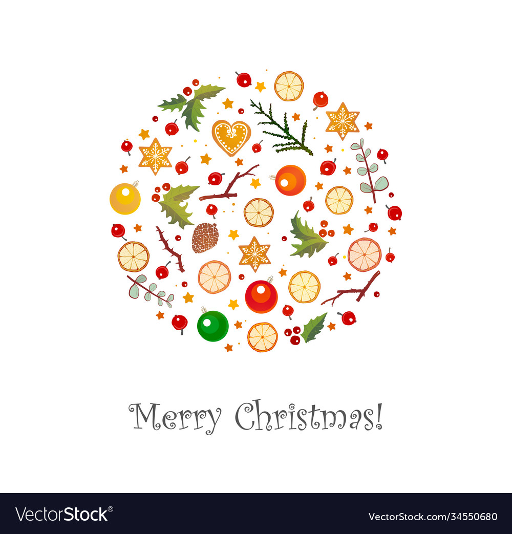 Greeting card with christmas decorations on white