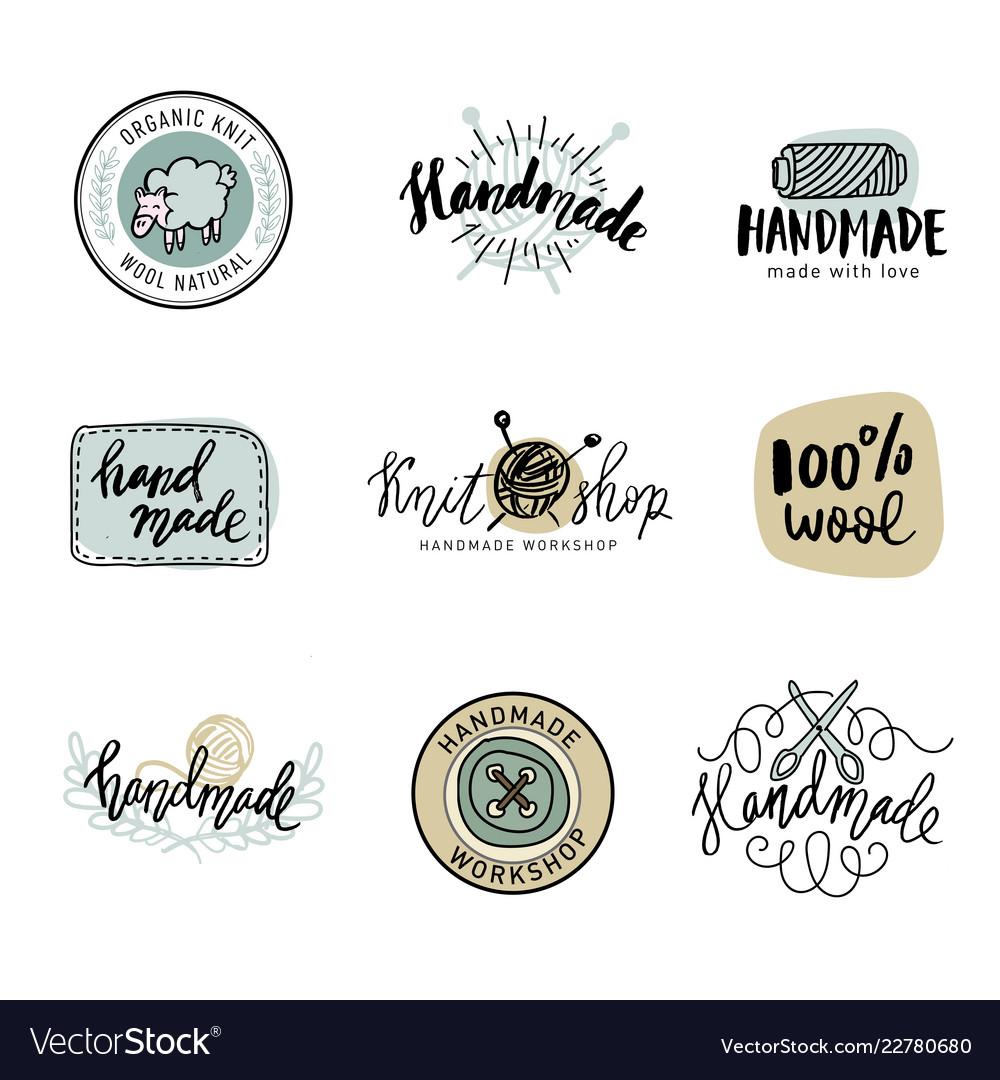 Handmade line vintage logo set handmade retro