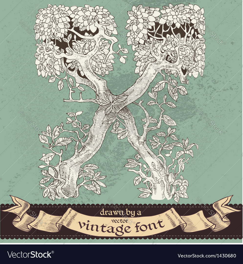 Magic grunge forest hand drawn by vintage font - X