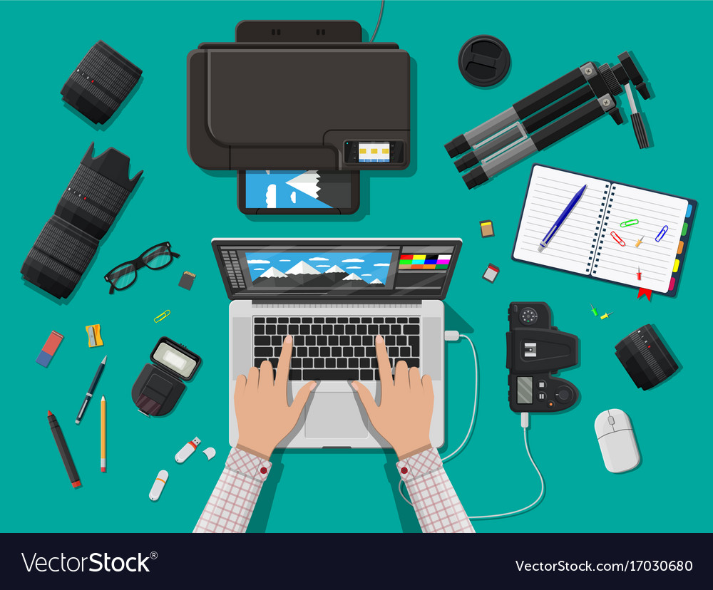 Workspace of photographer