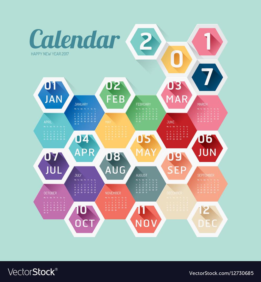 2017 Calendar Calendar Hexagon geometric