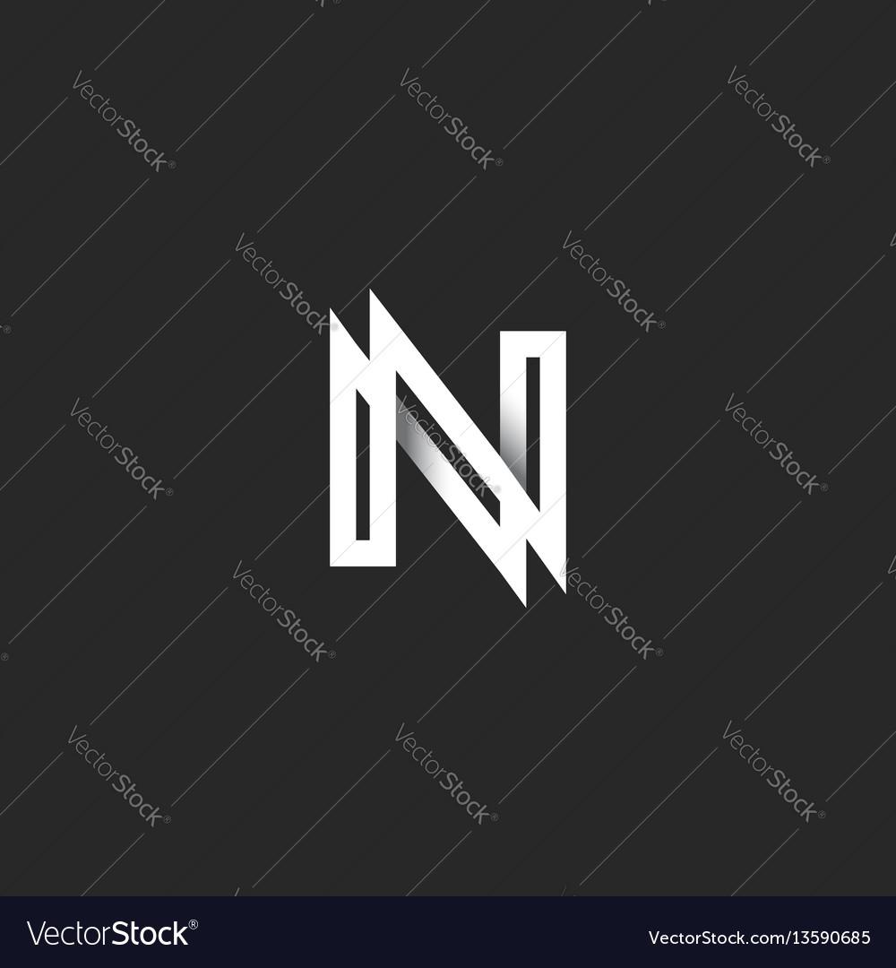 Capital letter n logo monogram overlapping thin