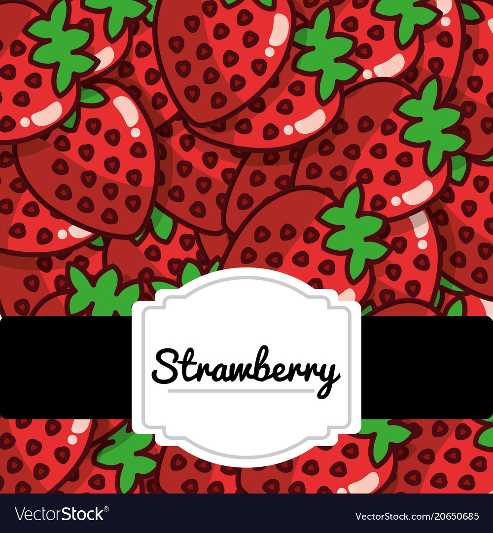Delicious strawberry fresh fruit label pattern