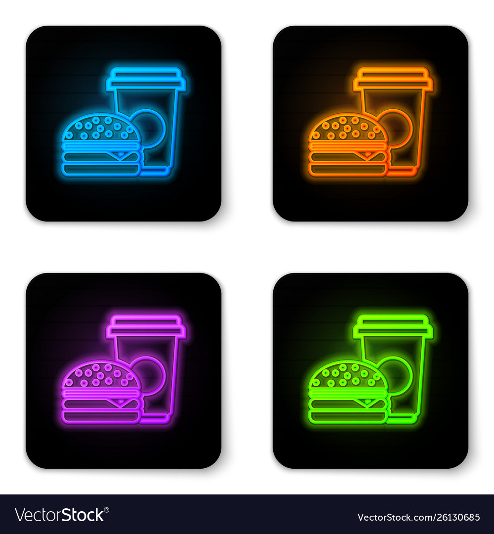 Glowing neon coffee and burger icon isolated on